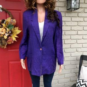 Sag Harbor purple one button blazer